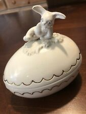 Victorian Easter Centerpiece Ceramic Easter Bunny Egg Ivory Gold Trinket Box