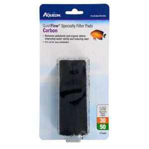 Aqueon QuietFlow 30/50 Specialty Filter Pads Carbon 4pk   Free Shipping