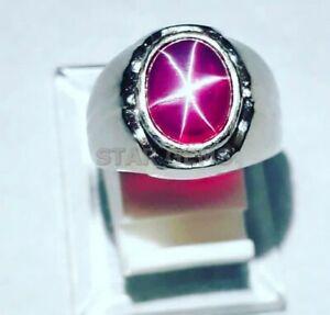 Landy Star Ruby Gemstone 925 Sterling Silver Ring Men's Engagement Promise Ring