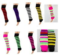 Striped Leg Warmers Soft Warm Long Stripe Fashion Leg Warmer- UK MADE