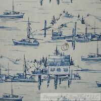 BonEful Fabric FQ Cotton Quilt Scenic Blue Sail Boat Water Ocean Fish*ing Dock L
