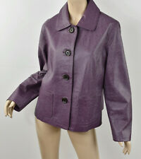 $238 Chico'S Purple Genuine Leather Embossed Ostrich Skin Jacket (2.5) L 14