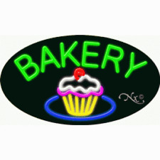 """Brand New """"Bakery"""" 30x17 Oval W/Flash Real Neon Sign W/Custom Options 14615"""