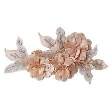 3D Flower Beaded Rhinestones Lace Applique Patches Bridal Wedding Dress Motifs