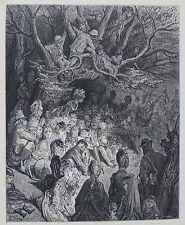 Doré-Londres; 'La Orilla-bajo los árboles's, antiguo grabado en madera, C.1870