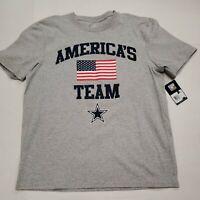 NWT Dallas Cowboys NFL America's Team Flag Gray Short Sleeve T-Shirt Medium New