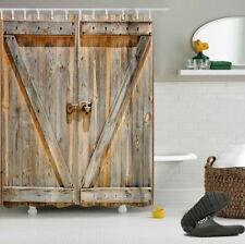 """72"""" Rustic wooden Barn Door Fabric Shower Curtain Set Waterproof Bathroom"""