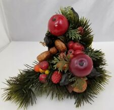 """Vtg Mid Century Tin Steel Wall Hanging Sconce w Plastic Fruit Nuts Basket 8""""x9"""""""