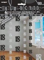GLITZ BLACK 6 HANGING DECORATIONS 18TH BIRTHDAY 1.5M/5' BIRTHDAY PARTY SUPPLIES