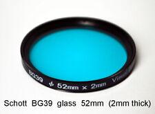 "Schott BG39 52mm x 2mm UV/IR-Cut Filter Visual Bandpass IR Suppress ""Hot Mirror"""