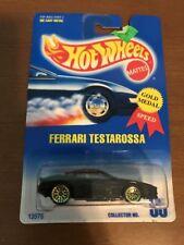 HOT WHEELS 1991 BLUE CARD FERRARI TESTAROSSA #35 W/ UH GOLD WHEELS 08