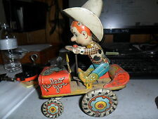 """1930 """"RODEO JOE""""MADE BY UNIQUE ART CRAZY  CAR WIND UP TIN LITHO GOOD CONDITION"""