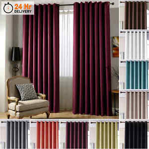Blackout Curtains Thermal Ring Top Black Out Ready Made Eyelet Curtain Pair