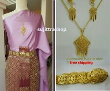 Thai Traditional Gold Plated Necklace Earring Belt Jewelry Set 24 Inches Wedding
