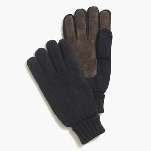 J.Crew Marled suede men's gloves NWT$44.50 Sz L-XL solid navy Item K3465