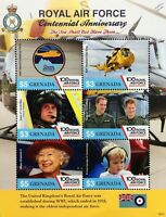 RAF Centenary Air Sea Rescue / Sea King Helicopter Stamp Sheet (2018 Grenada)