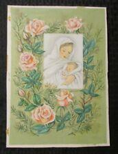 "CHRISTMAS Virgin Mary Baby Jesus Flowers 8x12 "" Original Greeting Card Art #H11"