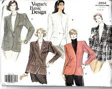Vogue Sewing Pattern 2554 Jacket Blazer US 12-16 UK 16-20 Basic Design UNCUT