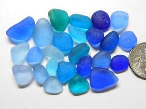 25 XS-S/M Teal Aqua Cobalt Blue 14g JQ RARE Genuine Seaham English Sea Glass