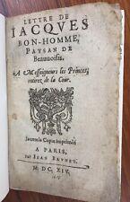 Lettre de Jacques Bon-Homme paysan de Beauvoisis 1614