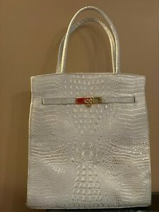 Genuine Leather White Crocodile Imprint Handbag
