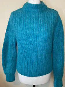H&M Premium Teal Chunky Knit Alpaca Wool Jumper Size XS Worn Once