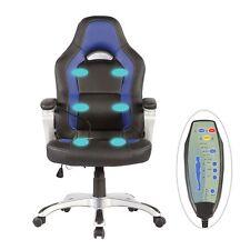 NEW Race Car Office Massage Chair Heated Vibrating PU Leather Ergonomic Computer