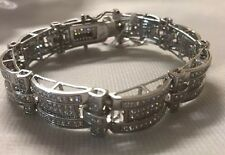 "Sterling Silver Men's Bracelet With Stones 8"" Long 53 Grams"