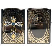 Zippo Lighter Pray Cross Emblem BK Black Antique Brass Cross Windproof Gift