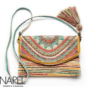 Napel Boho Simply Casual New Handloom Pastel Beads Sling Clutch