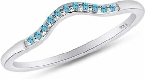 Round Aquamarine Curved Wedding Band Ring For Her 14k White Gold Over Silver 925