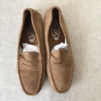 Tod's Womens Driving Shoes Penny Loafers Tan Suede Moccasins Size 40