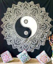 Flower Yin Yang Design Cotton Fabric Wall Hanging Bedspread Wonderful Queen Art