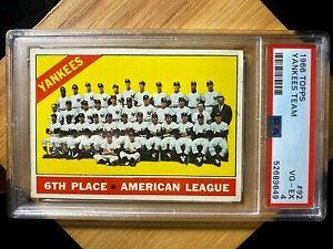 1966 Topps #92 Yankees Team (Mantle) PSA 4 VG-EX