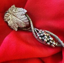 NATURALISTIC Sterling Silver Grape Leaf SERVING SPOON 1870 Vine Chester England