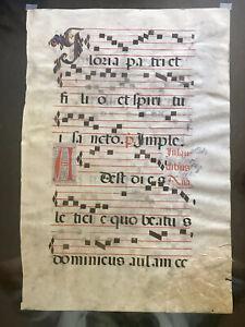 Original LARGE Medieval 1500+MANUSCRIPT-MUSIC LEAF~PARCHMENT SKIN/REPAIRED#01781