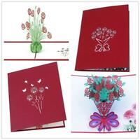 3D Pop Up Greeting Card Mothers Day For Mom Anniversary Love Rose Flower Gifts