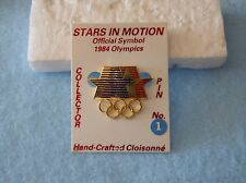 Vintage 1984 Summer Olympic Games official Stars-in-Motion pin on original card