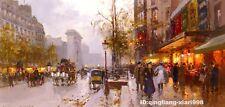 """Art handmade oil painting:Street in Paris 24x48 """""""