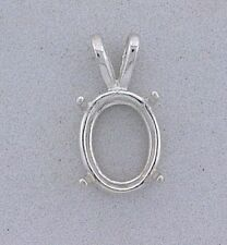 18x13 18mm x 13mm Oval Wire Gemstone Pendant Sterling Silver Prenotched Mounting
