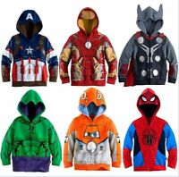 Boys Hoodies Avengers Marvel Superhero Iron Man Thor Hulk Captain America Spider
