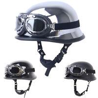DOT German Motorcycle Half Helmet w/Pilot Goggles Chopper Scooter S/M/L/XL/XXL
