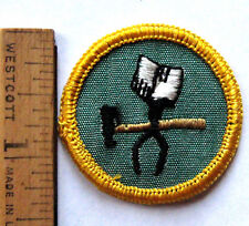 RARE 1963 Girl Scout Cadette METAL ARTS BADGE Tin Snips Hammer Patch BUCKRAM