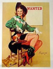 GIL ELVGREN VINTAGE PIN-UP POSTER GIRL COWGIRL SHERIFF PHOTO COWBOY BOOTS & GUN
