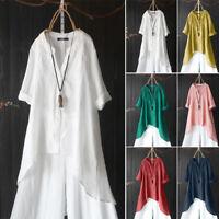 ZANZEA Damen Rundhald Kurzarm Hemd Tops Print Vintage Ethnic Lose Shirts Bluse