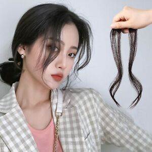 Real Human Hair Hair Extensions Clip In Side Bangs Long Curly Hair Piece Clips