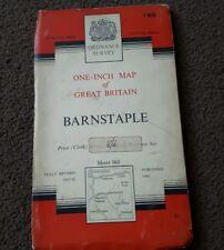 Vintage National Grid Ordnance Survey One Inch Map BARNSTAPLE 1960 Cloth