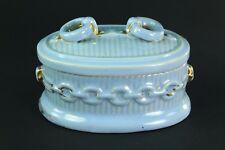 ! Antique Blue-Glazed HÖCHST German Earthenware Match Striker Box Safe Container