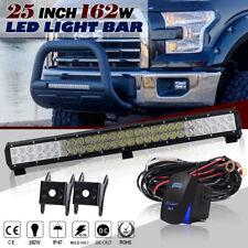 "25""On Front Bumper Bull Bar LED Light Bar Spot Flood Fog Lamp Ford JEEP GMC SUV"