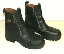 "Womens Black Leather 6 1/2"" Double Side Zip Harley Davidson, Ankle Boots SZ 10M"